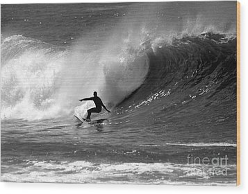 Black And White Surfer Wood Print