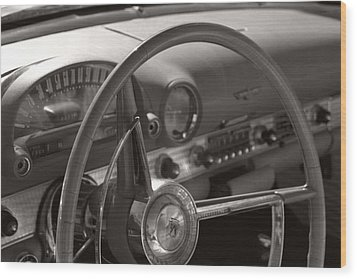 Black And White Thunderbird Steering Wheel  Wood Print