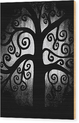 Black And White Tree Wood Print by Angelina Vick
