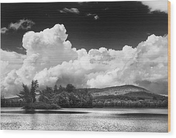 Black And White Vienna Maine Flying Pond With Storm Clouds Fine Art Print Wood Print