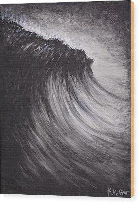 Black And White Wave Guam Wood Print