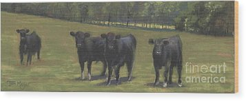 Black Angus Buddies Wood Print by Terri  Meyer