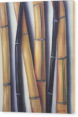 Wood Print featuring the painting Black And Gold Bamboos by Randol Burns
