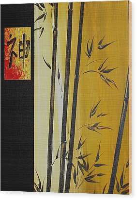 Wood Print featuring the painting Black Bamboo Zen  by Dina Dargo