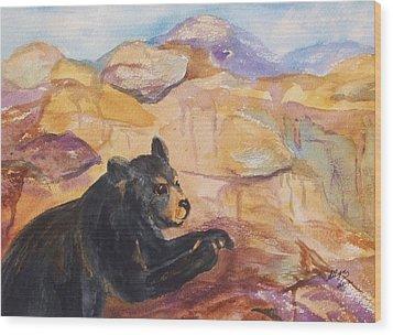 Black Bear Cub Wood Print by Ellen Levinson