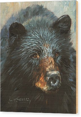 Wood Print featuring the painting Black Bear by David Stribbling