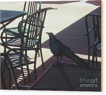 Black Bird At Central Market Wood Print by Felipe Adan Lerma