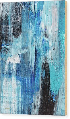 Wood Print featuring the painting Black Blue Abstract Painting by Christina Rollo