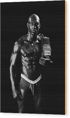 Black Boxer In Black And White 01 Wood Print by Val Black Russian Tourchin