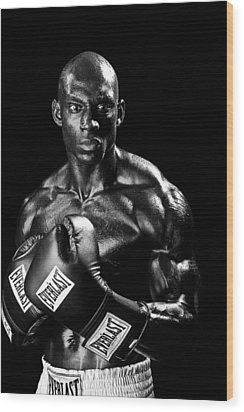 Black Boxer In Black And White 05 Wood Print by Val Black Russian Tourchin