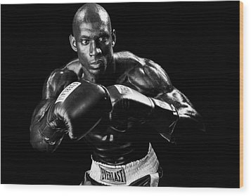 Black Boxer In Black And White 07 Wood Print by Val Black Russian Tourchin