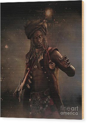 Wood Print featuring the digital art Black Caesar Pirate by Shanina Conway