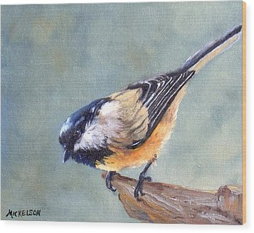 Black Capped Chickadee Wood Print by Debra Mickelson