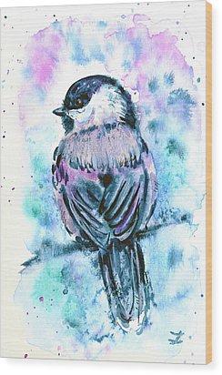 Wood Print featuring the painting Black-capped Chickadee by Zaira Dzhaubaeva