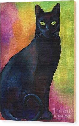 Black Cat 9 Watercolor Painting Wood Print