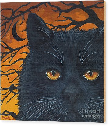 Black Cat And Moon Wood Print by Linda Apple