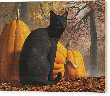 Wood Print featuring the digital art Black Cat At Halloween by Daniel Eskridge