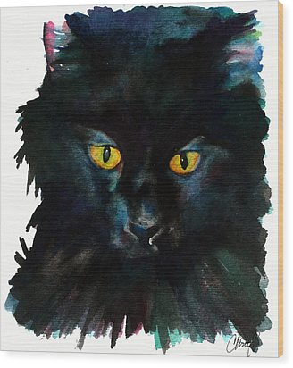 Black Cat Wood Print by Christy  Freeman