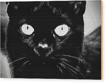 Black Cat Wood Print