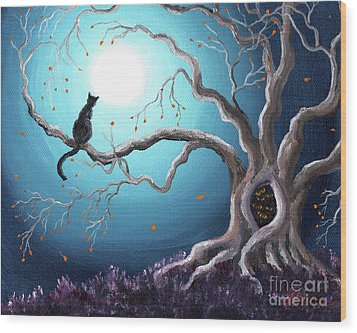 Black Cat In A Haunted Tree Wood Print