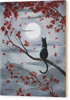 Black Cat In Silvery Moonlight Wood Print