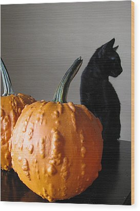 Black Cat Silhouette  Wood Print