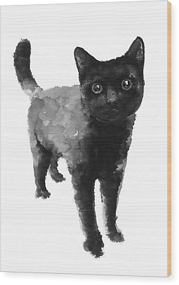 Black Cat Watercolor Painting  Wood Print by Joanna Szmerdt