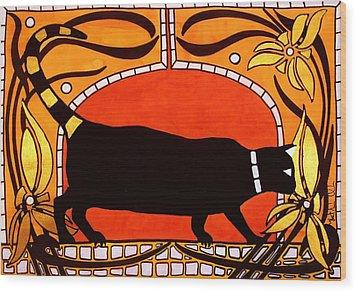 Black Cat With Floral Motif Of Art Nouveau By Dora Hathazi Mendes Wood Print by Dora Hathazi Mendes