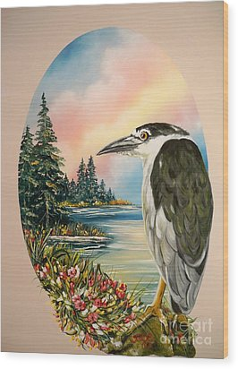 Wood Print featuring the painting Black Crowned Heron by Sigrid Tune