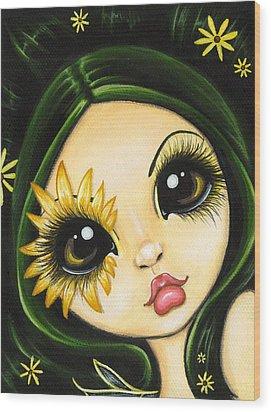 Black-eyed Susan Wood Print by Elaina  Wagner