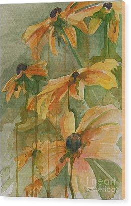 Black Eyed Susans Wood Print by Gretchen Bjornson