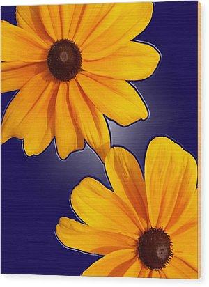 Black-eyed Susans On Blue Wood Print