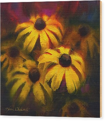 Wood Print featuring the painting Black Eyed Susans - Vibrant Flowers by Karen Whitworth