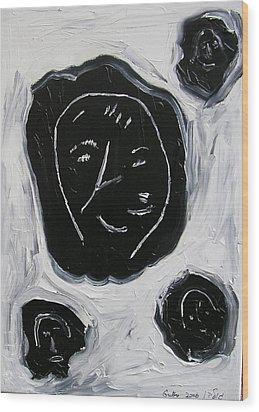 Black Faces Wood Print by Harris Gulko