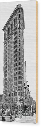 Black Flatiron Building II Wood Print by Chuck Kuhn