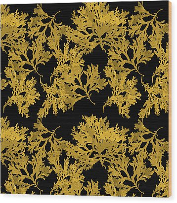 Wood Print featuring the mixed media Black Gold Leaf Pattern by Christina Rollo