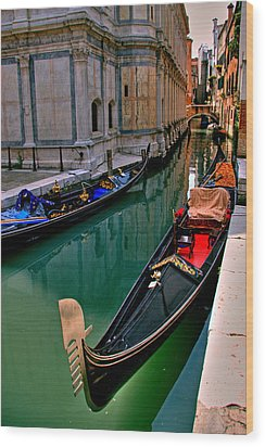 Black Gondola Wood Print by Peter Tellone