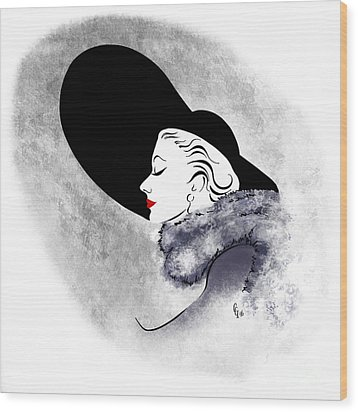 Wood Print featuring the digital art Black Hat Red Lips by Cindy Garber Iverson