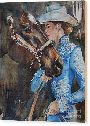 Black Horse And Cowgirl   Wood Print by Maria's Watercolor