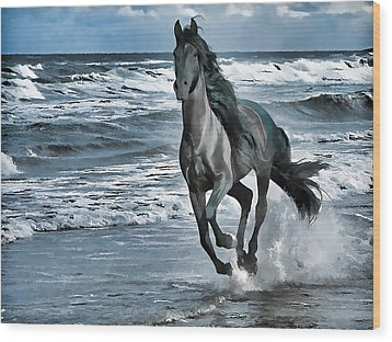 Black Horse Running Through Water Wood Print by Lanjee Chee
