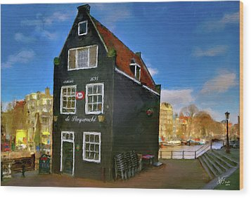 Wood Print featuring the photograph Black House In Jodenbreestraat #1. Amsterdam by Juan Carlos Ferro Duque