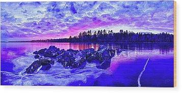 Black Ice At Twilight Wood Print