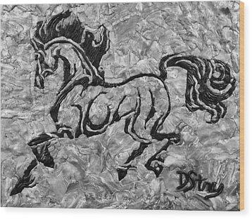 Black Jack Black And White Wood Print