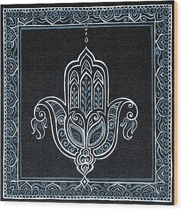 Black Khamsa Wood Print by Eleanor Hofer