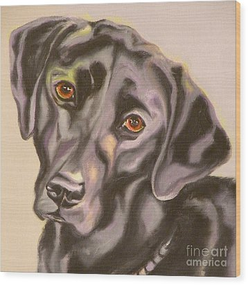 Black Lab Aint No Cure For Love Wood Print by Susan A Becker