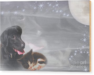 Black Lab And Kitten Collage Wood Print by Judy Brand