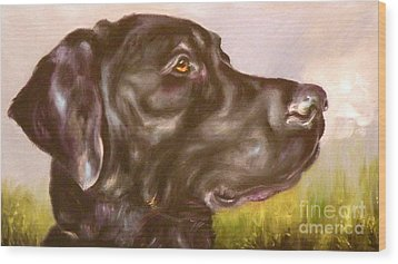 Black Lab In The Field Wood Print by Susan A Becker