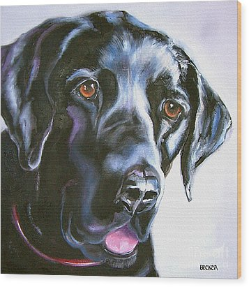 Black Lab No Ordinary Love Wood Print by Susan A Becker