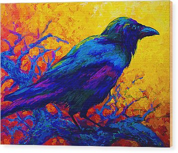 Black Onyx - Raven Wood Print by Marion Rose