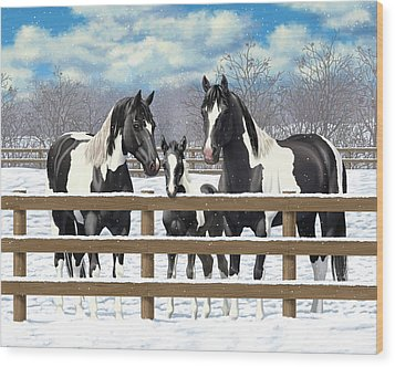 Black Paint Horses In Snow Wood Print by Crista Forest